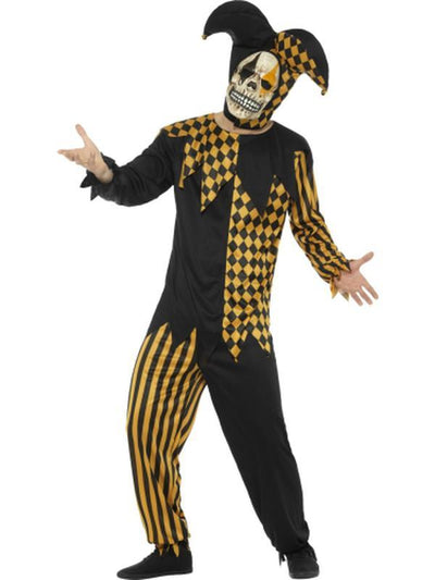 Evil Court Jester Costume, Black & Gold-Costumes - Mens-Jokers Costume Hire and Sales Mega Store