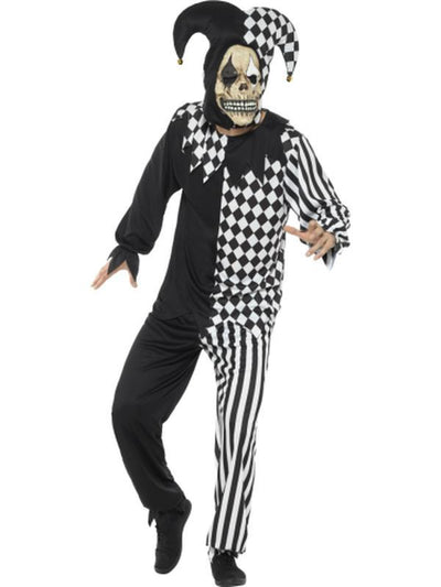 Evil Court Jester Costume, Black & White-Costumes - Mens-Jokers Costume Hire and Sales Mega Store