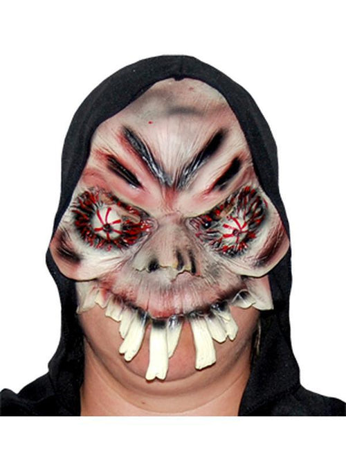 **Evil Eyed Over Bite - Half Mask w/Hood-Masks - Halloween-Jokers Costume Hire and Sales Mega Store