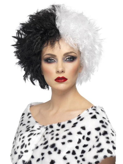 Evil Madame Wig - Black & White-Wigs-Jokers Costume Hire and Sales Mega Store