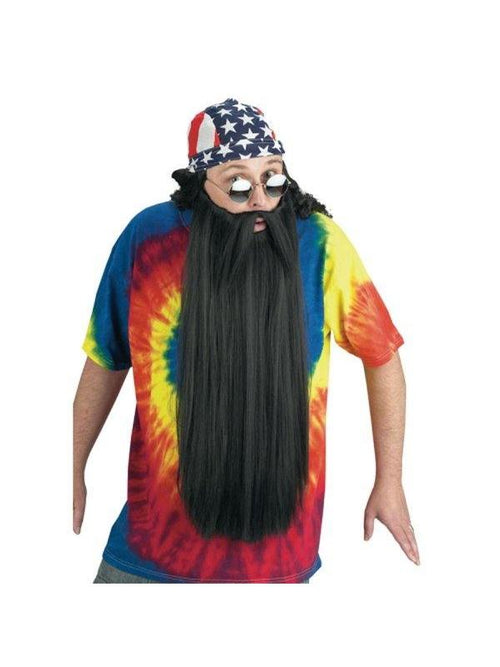 Extra Long Beard w/Mustache - Black-Beards and Moustaches-Jokers Costume Hire and Sales Mega Store