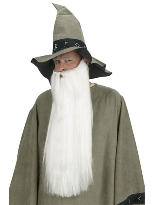 Extra Long Beard w/Mustache - White-Beards and Moustaches-Jokers Costume Hire and Sales Mega Store