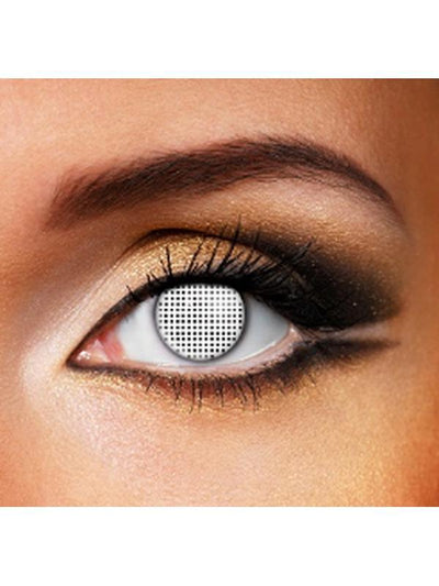 Eye Fusion One Day - White Mesh-Contact Lens - Eye Fusion One Day-Jokers Costume Hire and Sales Mega Store