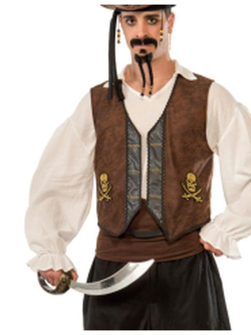 **Faux Suede Buccaneer Pirate Vest**-Costumes - Mens-Jokers Costume Hire and Sales Mega Store