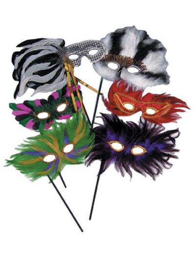 Feather Mask On Stick Assorted - Pack Of 12-Masks - Masquerade-Jokers Costume Hire and Sales Mega Store