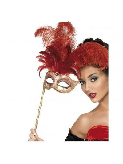 Fever Baroque Fantasy Eyemask, Red-Masks - Masquerade-Jokers Costume Hire and Sales Mega Store
