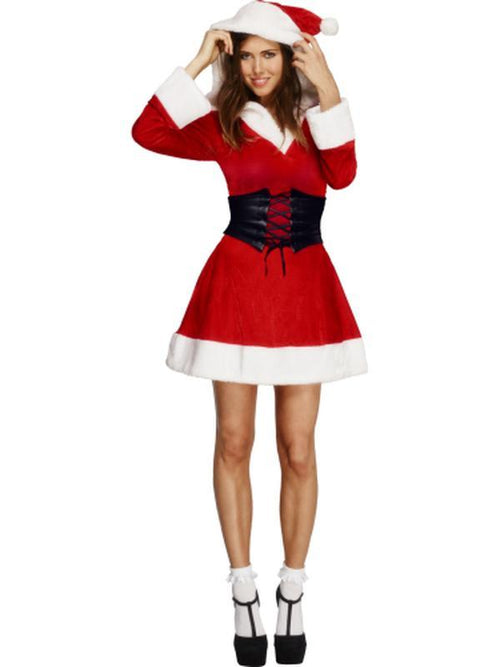 Fever Hooded Santa Costume-Costumes - Women-Jokers Costume Hire and Sales Mega Store
