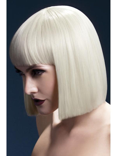 Fever Lola Wig - Blonde, Blunt Cut Bob with Fringe-Wigs-Jokers Costume Mega Store