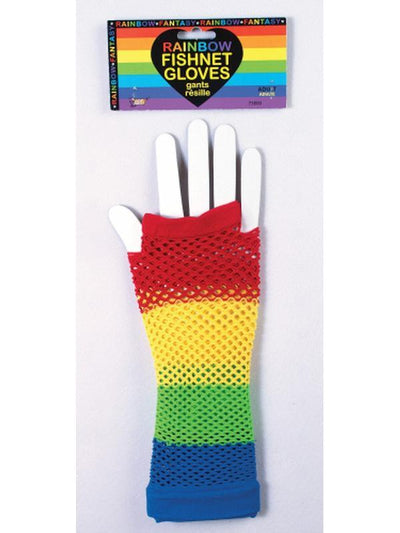 Fingerless Gloves - Rainbow Fishnet-Armwear-Jokers Costume Hire and Sales Mega Store