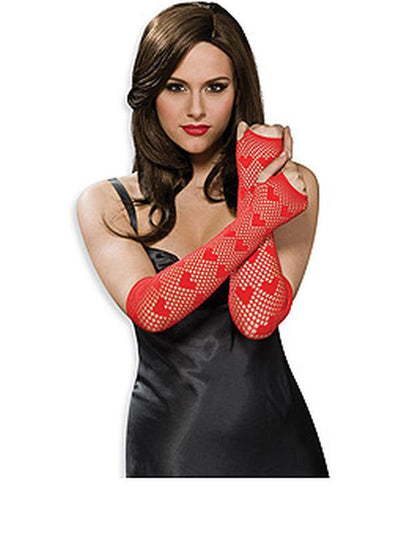 Fishnet Fingerless Long Heart Gloves - Red-Armwear-Jokers Costume Hire and Sales Mega Store