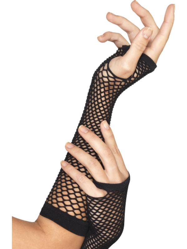 Fishnet Gloves, Long, Black-Jokers Costume Mega Store