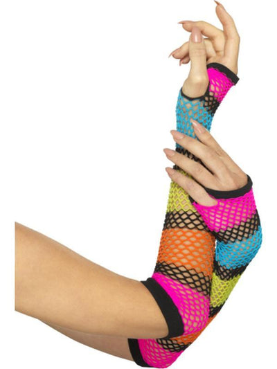 Fishnet Gloves, Long Neon with Black Stripe-Armwear-Jokers Costume Hire and Sales Mega Store