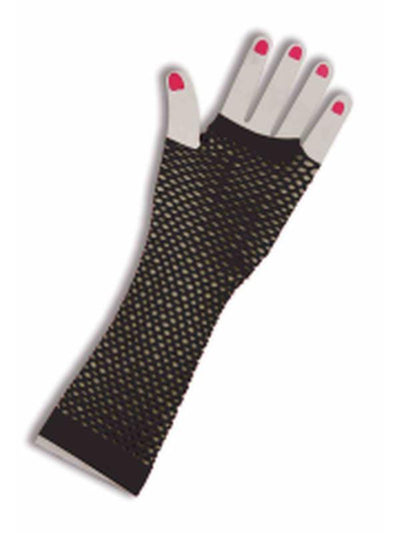 Fishnet Long Fingerless Gloves - Black-Armwear-Jokers Costume Hire and Sales Mega Store