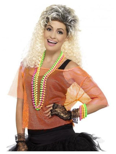 Fishnet Top, Neon Orange-Costume Accessories-Jokers Costume Hire and Sales Mega Store
