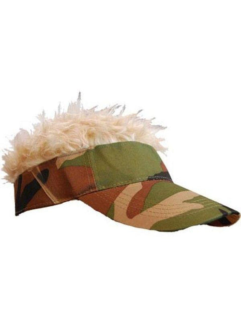 **Flair Hair Camo Visor - Blonde Hair**-Hats and Headwear-Jokers Costume Hire and Sales Mega Store