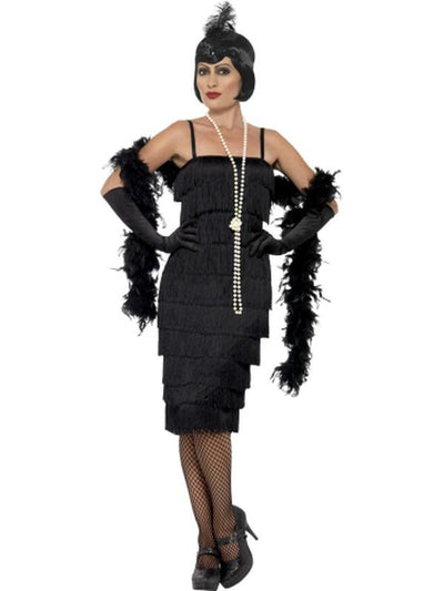 Flapper Costume - Black, with Long Dress-Costumes - Women-Jokers Costume Mega Store