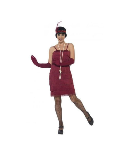 Flapper Costume, Burgundy Red, with Short Dress-Costumes - Women-Jokers Costume Mega Store