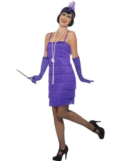 Flapper Costume - Purple, with Short Dress-Costumes - Women-Jokers Costume Hire and Sales Mega Store