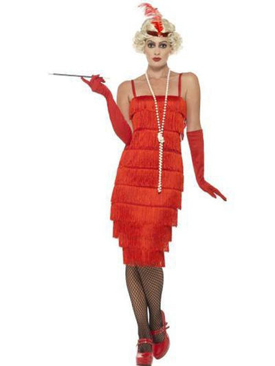 Flapper Costume - Red, with Long Dress-Costumes - Women-Jokers Costume Mega Store