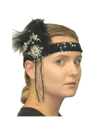 Flapper Headpiece - Deluxe Black/ Silver-Hats and Headwear-Jokers Costume Mega Store