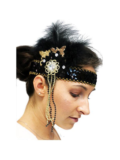 Flapper Headpiece - Deluxe Black/Gold-Hats and Headwear-Jokers Costume Mega Store
