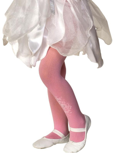 Flower/Rhinestone Tights Pink - Size M-Leg Wear-Jokers Costume Hire and Sales Mega Store