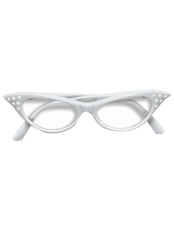 Flyaway Style Rock and Roll Sunglasses, White, with Diamante-Eyewear-Jokers Costume Hire and Sales Mega Store
