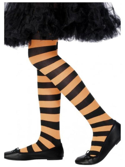 Funky Witch Tights - Orange/Black - Child-Leg Wear-Jokers Costume Hire and Sales Mega Store