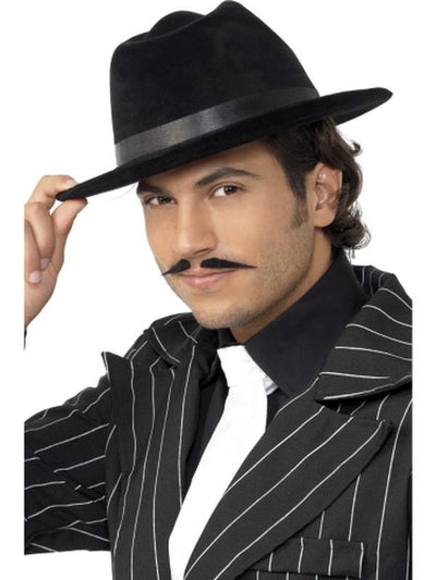 Gangster Hat Black Velour-Hats and Headwear-Jokers Costume Hire and Sales Mega Store