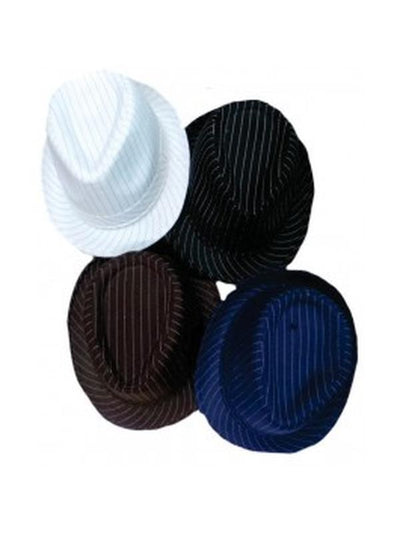 Gangster Hat - Pinstripe-Hats and Headwear-Jokers Costume Mega Store