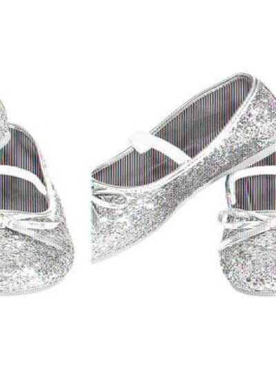 Glitter Shoes Silver Childs - Size S-Costume Accessories-Jokers Costume Hire and Sales Mega Store