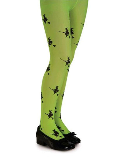 Glitter Witch Tights Green - Size S-Leg Wear-Jokers Costume Hire and Sales Mega Store