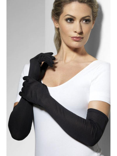 Gloves - Black, Long-Armwear-Jokers Costume Hire and Sales Mega Store
