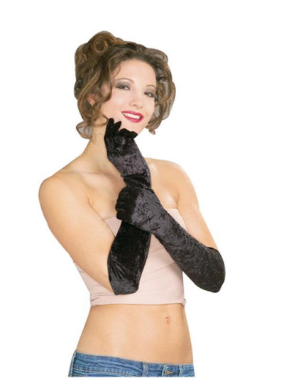 Gloves - Black Velvet, Long-Armwear-Jokers Costume Hire and Sales Mega Store