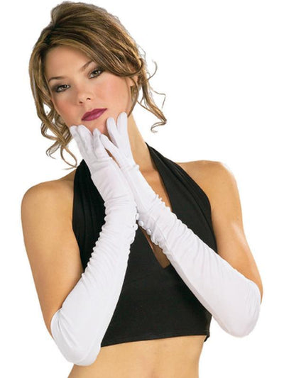 Gloves, Nylon - Long, White-Armwear-Jokers Costume Hire and Sales Mega Store