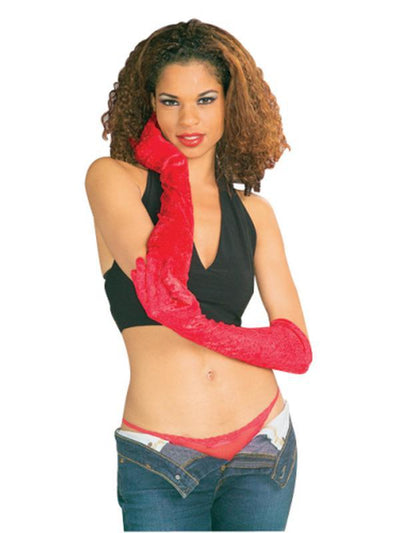 Gloves - Red Velvet, Long-Armwear-Jokers Costume Hire and Sales Mega Store