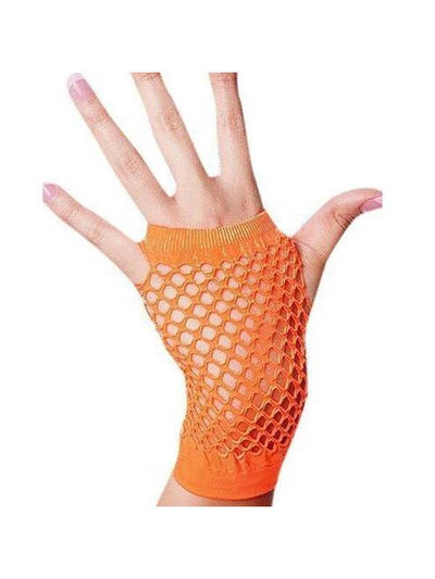 Gloves -Short Fishnet Neon Orange-Armwear-Jokers Costume Hire and Sales Mega Store