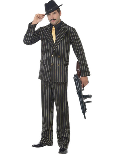 Gold Pinstripe Gangster Costume-Costumes - Mens-Jokers Costume Mega Store