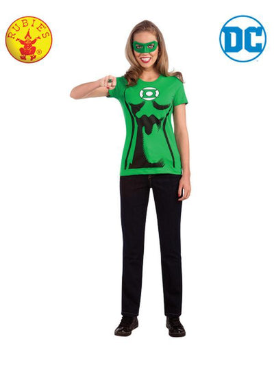 GREEN LANTERN TSHIRT FEMALE - SIZE M-Costumes - Women-Jokers Costume Hire and Sales Mega Store