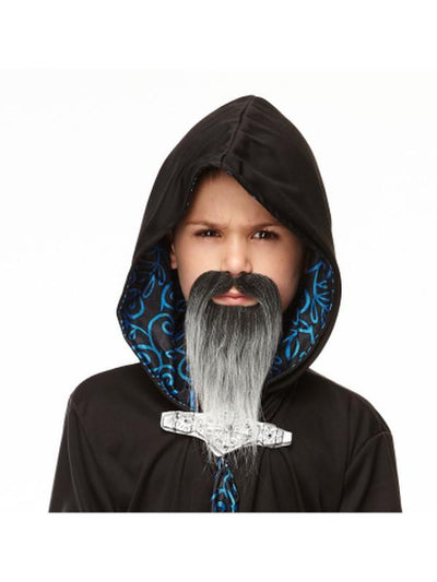 Grey and Black Long Beard and Moustache - Small-Beards and Moustaches-Jokers Costume Mega Store