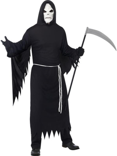 Grim Reaper Costume including Mask-Costumes - Mens-Jokers Costume Hire and Sales Mega Store