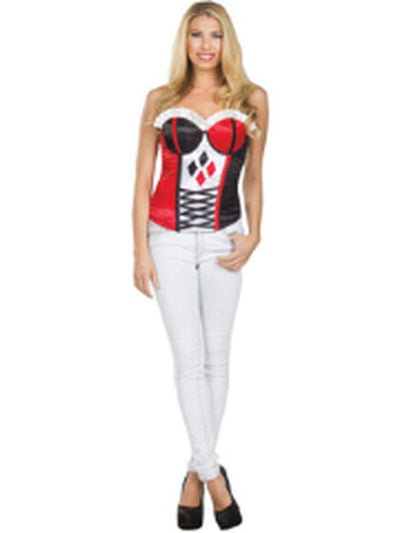 Harley Quinn Corset - Size L-Costumes - Women-Jokers Costume Hire and Sales Mega Store