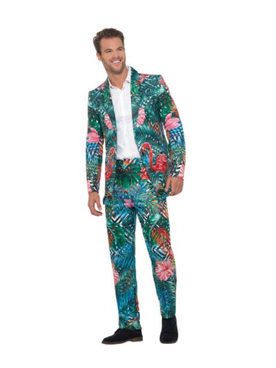 Hawaiian Tropical Flamingo Suit-Costumes - Mens-Jokers Costume Hire and Sales Mega Store