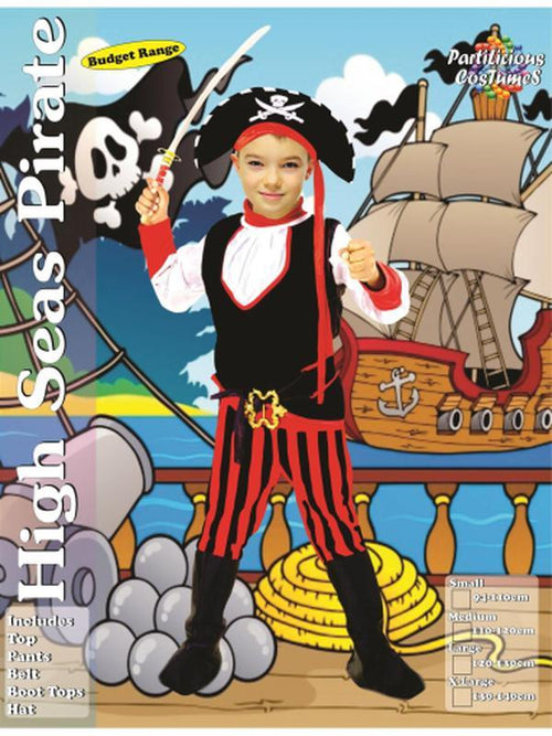 High Seas Pirate Boy-Costumes - Boys-Jokers Costume Hire and Sales Mega Store