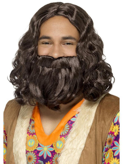 Hippie/Jesus Wig & Beard Set-Beards and Moustaches-Jokers Costume Hire and Sales Mega Store