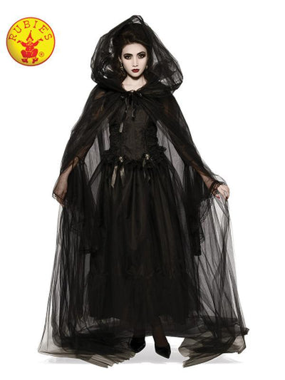 HOODED CAPE BLACK WOMENS - SIZE STD-Costume Accessories-Jokers Costume Hire and Sales Mega Store