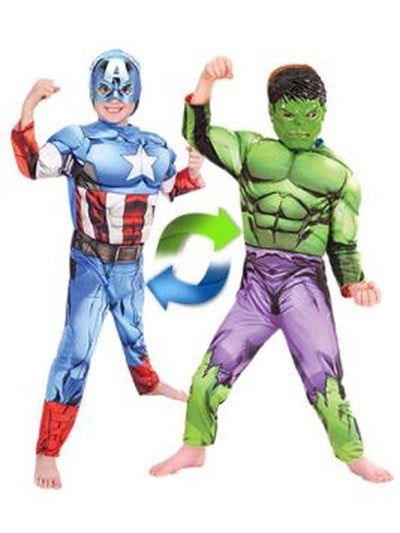 Hulk To Captain America Deluxe Rev - Size 4-6-Costumes - Boys-Jokers Costume Hire and Sales Mega Store
