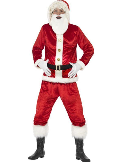 Jolly Santa Costume, with Hooded Jacket-Costumes - Mens-Jokers Costume Hire and Sales Mega Store