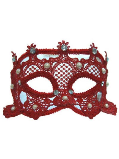 Lace Carnival Eyemask w/Pearls - Red-Masks - Masquerade-Jokers Costume Hire and Sales Mega Store