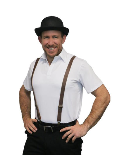 Leather Look Suspenders - Brown-Costume Accessories-Jokers Costume Hire and Sales Mega Store